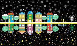 Αστεία πόλη κινούμενων σχεδίων διανυσματική απεικόνιση