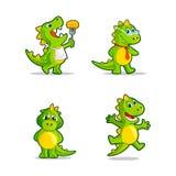 Αστεία δράκος κινούμενων σχεδίων ή μασκότ δεινοσαύρων διανυσματική απεικόνιση
