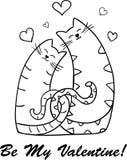 Αστεία σκιαγραφία γατών κινούμενων σχεδίων για το σχέδιό σας Στοκ εικόνες με δικαίωμα ελεύθερης χρήσης