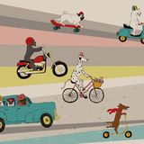 Αστεία σκυλιά που τα οχήματα απεικόνιση αποθεμάτων