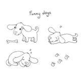 Αστεία σκυλιά κινούμενων σχεδίων με ένα κόκκαλο Στοκ Φωτογραφία