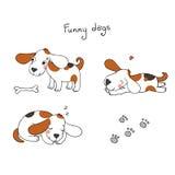 Αστεία σκυλιά κινούμενων σχεδίων με ένα κόκκαλο Στοκ Εικόνα