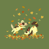Αστεία σκυλιά που παίζουν με τα φύλλα φθινοπώρου Στοκ Φωτογραφία