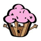 Αστεία σοκολάτα κινούμενων σχεδίων Kawai cupcake με Στοκ Φωτογραφία