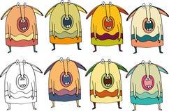 Αστεία συγκλονισμένα κινούμενα σχέδια τεράτων doodle διανυσματική απεικόνιση