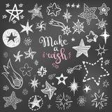 Αστεία συλλογή εικονιδίων αστεριών και κομητών doodle Παιδιά χεριών που σύρονται απεικόνιση αποθεμάτων