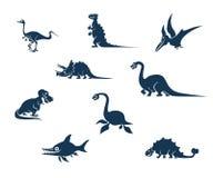 Αστεία συλλογή σκιαγραφιών δεινοσαύρων Στοκ Φωτογραφίες
