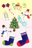Αστεία σύνολα εικονιδίων Χριστουγέννων - δημιουργική απεικόνιση eps10 απεικόνιση αποθεμάτων