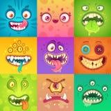 Αστεία τέρατα αποκριών Χαριτωμένο και τρομακτικό πρόσωπο τεράτων με τα μάτια και το στόμα Παράξενο διάνυσμα χαρακτήρα μασκότ πλασ διανυσματική απεικόνιση