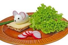 Αστεία τρόφιμα - τυρί και ποντίκι Στοκ Φωτογραφία