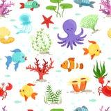 Αστεία υποβρύχια ζωή με τα θαλάσσια φυτά και τα ψάρια άνευ ραφής διάνυσμα προτύπων διανυσματική απεικόνιση