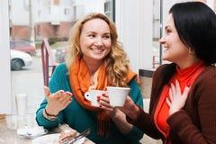 Αστεία φίλη στον καφέ Στοκ εικόνα με δικαίωμα ελεύθερης χρήσης