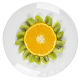 Αστεία φρούτα - πιάτο λουλουδιών πορτοκαλιών που απομονώνεται Στοκ φωτογραφία με δικαίωμα ελεύθερης χρήσης