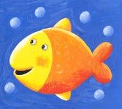 Αστεία χαριτωμένα κίτρινα ψάρια με τις φυσαλίδες στοκ φωτογραφία με δικαίωμα ελεύθερης χρήσης
