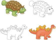 Αστεία χαριτωμένα ankylosaurus και stegosaurus Στοκ φωτογραφία με δικαίωμα ελεύθερης χρήσης