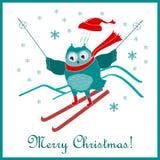 Αστεία χαριτωμένη να κάνει σκι κουκουβάγια 2$ο γραφικό νέο έτος υπολογιστών Χριστουγέννων καρτών designe Στοκ Εικόνα