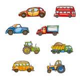 Αστεία χαριτωμένη συρμένη χέρι μεταφορά παιχνιδιών παιδιών Φωτεινό τρακτέρ κινούμενων σχεδίων μωρών, λεωφορείο, φορτηγό, αυτοκίνη Στοκ Φωτογραφίες