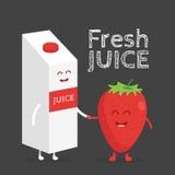 Αστεία χαριτωμένη συσκευασία και γυαλί χυμού φραουλών που σύρονται με ένα χαμόγελο, τα μάτια και τα χέρια διανυσματική απεικόνιση