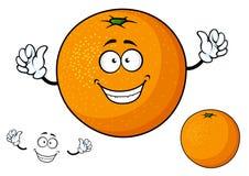 Αστεία juicy πορτοκαλιά φρούτα κινούμενων σχεδίων Στοκ Φωτογραφίες
