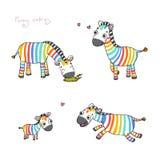 Αστεία zebras κινούμενων σχεδίων Στοκ Εικόνες