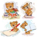 Αστείες απεικονίσεις για τις ευχετήριες κάρτες και βιβλία των παιδιών στο θέμα του σχολείου και της πανεπιστημιακής εκπαίδευσης Στοκ Εικόνες