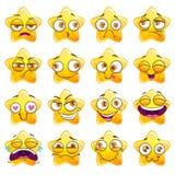 Αστείες αυτοκόλλητες ετικέττες χαρακτήρα αστεριών κινούμενων σχεδίων κίτρινες διανυσματική απεικόνιση