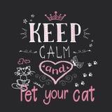 Αστείες γάτες και ηρεμία και κατοικίδιο ζώο φράση-συντηρήσεων η γάτα σας διανυσματική απεικόνιση