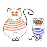 Αστείες γάτες κινούμενων σχεδίων σε ένα άσπρο υπόβαθρο Στοκ Φωτογραφίες