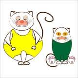 Αστείες γάτες κινούμενων σχεδίων στα καλσόν σε ένα άσπρο υπόβαθρο Στοκ Εικόνες