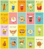 Αστείες διανυσματικές απεικονίσεις χαρακτήρων τροφίμων Απεικόνιση αποθεμάτων