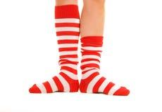 αστείες κάλτσες ριγωτέ&sigma Στοκ Φωτογραφία
