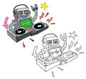 Αστείες κινούμενων σχεδίων περιστροφικές πλάκες παιχνιδιού ρομπότ ύφους deejay ελεύθερη απεικόνιση δικαιώματος