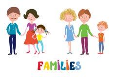 Αστείες οικογένειες καθορισμένες - συμπαθητικό και απλό σχέδιο απεικόνιση αποθεμάτων
