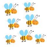 Αστείες πετώντας μέλισσες Διάνυσμα σε ένα άσπρο υπόβαθρο Μέλισσα Παιχνίδι μελισσών απεικόνιση αποθεμάτων