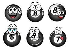 Αστείες χαμογελώντας σφαίρες λιμνών και μπιλιάρδου ελεύθερη απεικόνιση δικαιώματος