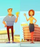 Αστείοι αγοραστές κινούμενων σχεδίων στο υπόβαθρο λεωφόρων απεικόνιση αποθεμάτων