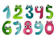 Αστείοι διανυσματικοί χαριτωμένοι αριθμοί τεράτων Ζωηρόχρωμοι αριθμοί για τα μαθηματικά και την απεικόνιση παιδιών διανυσματική απεικόνιση