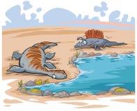 Αστείοι δεινόσαυροι κινούμενων σχεδίων Στοκ Εικόνα