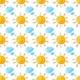 Αστείοι ευτυχείς ήλιοι και σύννεφα χαμόγελου Φωτεινό όμορφο σχέδιο κινούμενων σχεδίων Ζωγραφισμένη στο χέρι απεικόνιση watercolor Στοκ Εικόνες