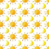 Αστείοι ευτυχείς ήλιοι και φεγγάρια χαμόγελου Φωτεινό όμορφο σχέδιο κινούμενων σχεδίων Στοκ Εικόνα