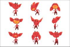 Αστείοι κόκκινοι χαρακτήρες διαβόλων κινούμενων σχεδίων με το διαφορετικό σύνολο συγκινήσεων διανυσματικών απεικονίσεων διανυσματική απεικόνιση