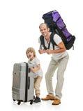 Αστείοι οικογενειακοί πατέρας και γιος έτοιμοι για το ταξίδι Στοκ Εικόνες