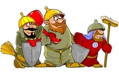 Αστείοι πολεμιστές κινούμενων σχεδίων bogatyrs Στοκ φωτογραφία με δικαίωμα ελεύθερης χρήσης