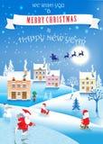 3 αστείοι στοιχειά, χιονάνθρωπος και χειμερινό τοπίο background christmas image over red santa white επίσης corel σύρετε το διάνυ Στοκ Εικόνες