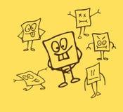 Αστείοι χαρακτήρες σκίτσων Στοκ φωτογραφία με δικαίωμα ελεύθερης χρήσης