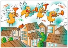 Αστείοι χαρακτήρες της πώλησης: επάνω από την πόλη Ελεύθερη απεικόνιση δικαιώματος