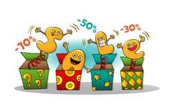 Αστείοι χαρακτήρες της πώλησης: επιστολές από ένα κιβώτιο Διανυσματική απεικόνιση