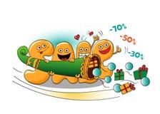 Αστείοι χαρακτήρες της πώλησης: επιστολές με ένα κέρατο της αφθονίας Διανυσματική απεικόνιση