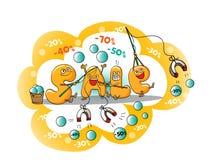 Αστείοι χαρακτήρες της πώλησης: επιστολές με το μαγνήτη για τις εκπτώσεις Διανυσματική απεικόνιση
