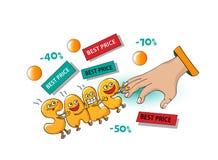 Αστείοι χαρακτήρες της πώλησης: επιστολές που διατηρούν τους πελάτες στο άσπρο β Ελεύθερη απεικόνιση δικαιώματος